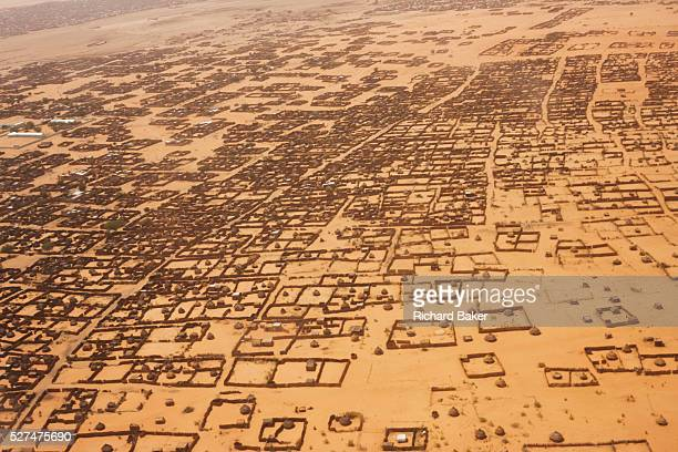 Aerial view of Al Fasher the frontline town in north Darfur during a tribal war resulting from colonial landuse Basic housing is outlined against the...