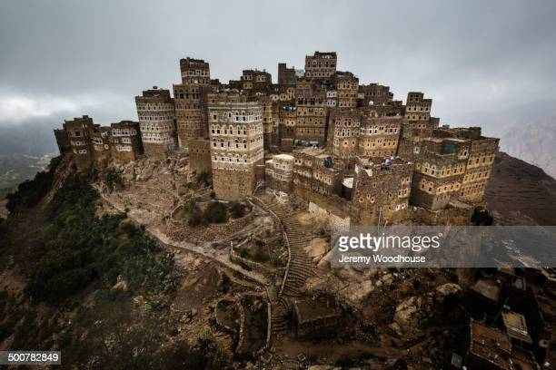 aerial view of al hajjarah, sanaa, yemen - yemen stock pictures, royalty-free photos & images