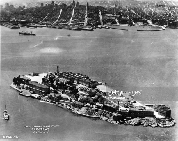 Aerial view of Alcatraz Prison San Francisco California circa 1940