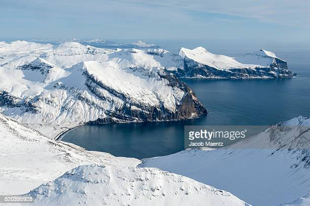 aerial view of aleutian islands in the winter - bering sea stock pictures, royalty-free photos & images