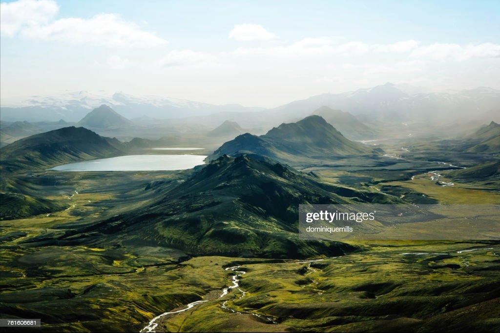 Aerial view of Alftavatn Lake, Laugavegur, Iceland : Stock-Foto