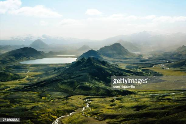 aerial view of alftavatn lake, laugavegur, iceland - iceland stock pictures, royalty-free photos & images
