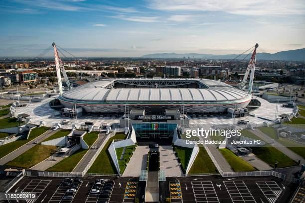 Aerial View of Allianz Stadium and Juventus training center on October 17, 2019 in Turin, Italy.