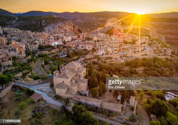 aerial view of alquezar, spain - huesca stock pictures, royalty-free photos & images