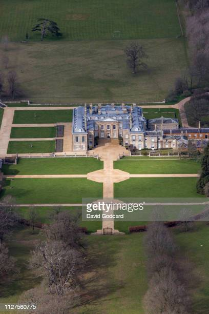 NORTHAMPTONSHIRE ENGLAND Aerial view of Althorp this grade 1 listed stately home was the home of Lady Diana Spencer who later became the Princess of...
