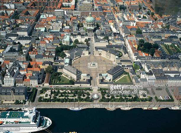 Aerial view of Amalienborg Palace residence of the Danish Royal family with Frederik's church also known as the Marble Church Frederiksstad...