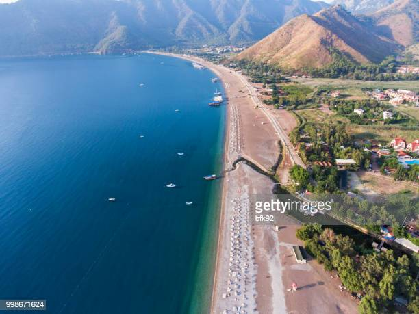 aerial view of amazing adrasan beach in antalya. - antalya province stock pictures, royalty-free photos & images