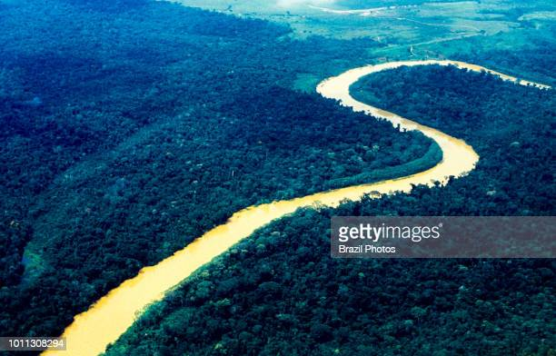 Aerial view of Amazon rain forest river penetrating dense forest deforested area in background Acre State Brazil