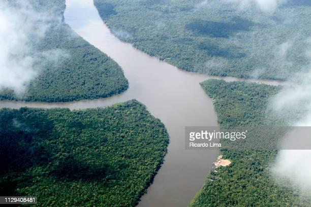 aerial view of amazon river, brazil - río amazonas fotografías e imágenes de stock