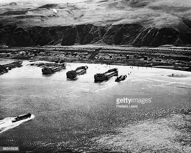 Aerial view of American troops landing at Kiska in the Aleutian Islands Alaska mid 1940s On August 15 1943 US and Canadian forces landed at the...