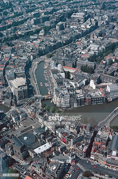 Aerial view of Amsterdam canal ring area Holland Netherlands