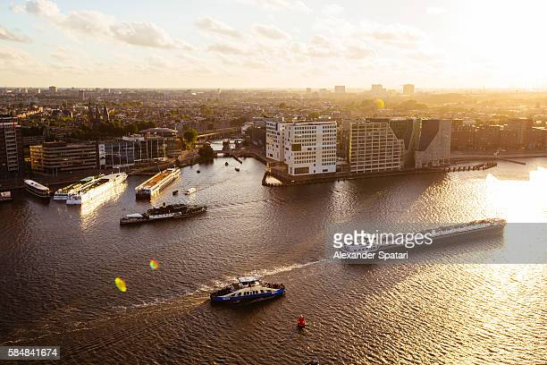 Aerial view of Amsterdam cityscape during sunset, Netherlands
