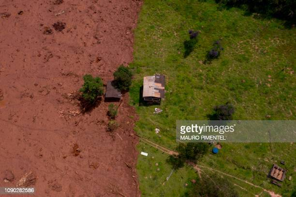 TOPSHOT Aerial view of an area affected by a mudslide after the collapse two days ago of a dam at an ironore mine belonging to Brazil's giant mining...
