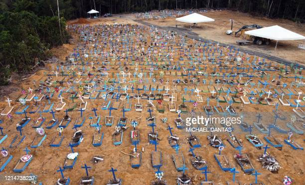 Aerial view of an area at the Nossa Senhora Aparecida cemetery where new graves have been dug in Manaus, Brazil, on May 22, 2020 amid the novel...
