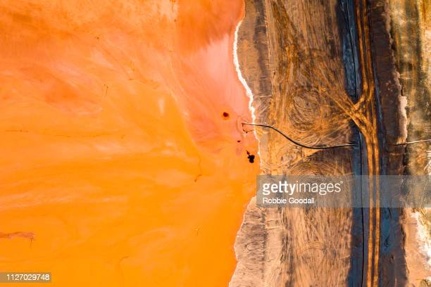 aerial view of an bauxite tailings dam - mining stock pictures, royalty-free photos & images