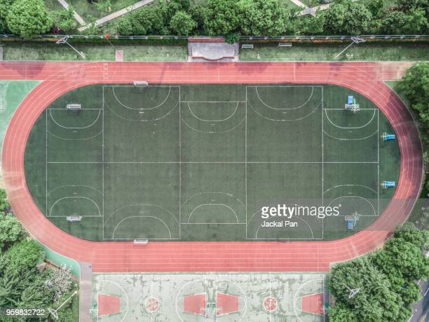 aerial view of an empty football court - sports round stock pictures, royalty-free photos & images