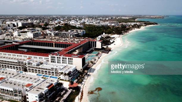 Aerial view of an empty Playa del Carmen beach during the COVID19 pandemic on April 27 2020 in Quintana Roo Mexico Mexico is on Stage Three of health...