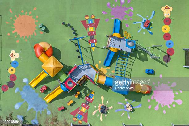 Aerial view of an empty playground during lockdown to halt spread of COVID-19 on April 21, 2020 in Mexico City, Mexico. Mexico is under health...