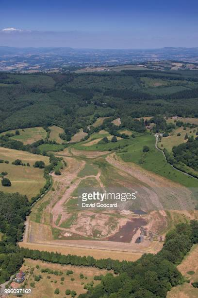 KINGDOM JULY 8 2018 Aerial view of an Empty Wentwood Reservoir in South Wales while the UK suffers from a prolonged drought on 8th July 2018 Aerial...