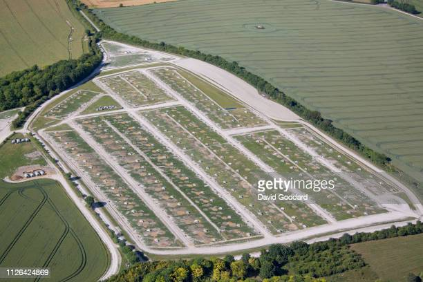 PENSHURST ENGLAND JUNE 2018 Aerial view of an English Pig Farm located in the Thames Valley Area 4 miles south east of Didcot on June 4th 2018...