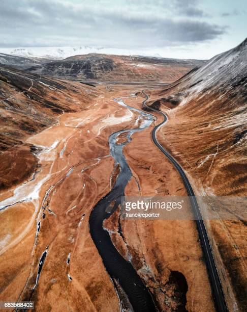 aerial view of an icelandic river