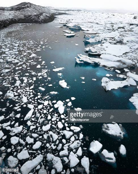 aerial view of an icerberg lake - glacier lagoon stock photos and pictures