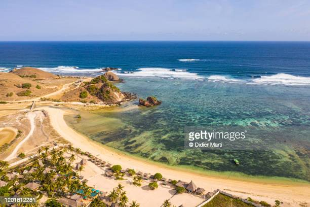 aerial view of an idyllic beach in the kuta area in south lombok in indonesia - lombok fotografías e imágenes de stock