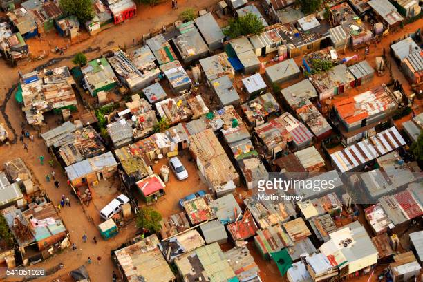 aerial view of an informal settlement, johannesburg,south africa - shack stock pictures, royalty-free photos & images