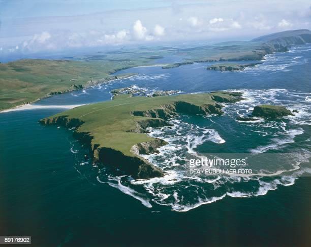 Aerial view of an island Shetland Islands Scotland