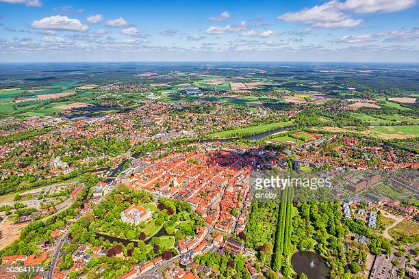 aerial view of ancient downtown district celle , lower saxony - celle stock photos and pictures