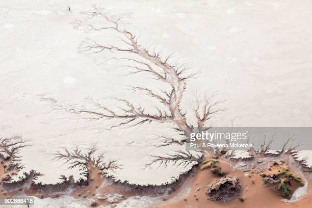 Aerial view of ancient river bed on salt pan