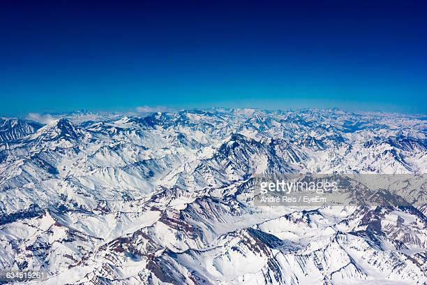 Aerial View Of Andes Against Blue Sky