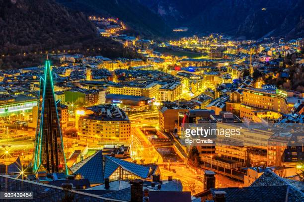 aerial view of andorra la vella dusk escaldes caldea blue hour - andorra stock pictures, royalty-free photos & images