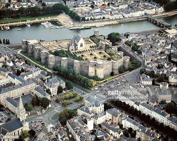 Aerial view of Angers Castle Pays de la Loire France