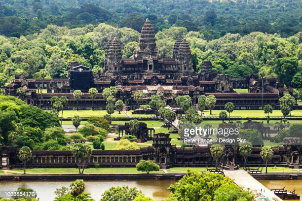 Aerial view of Angkor Wat, as seen from a hot air balloon