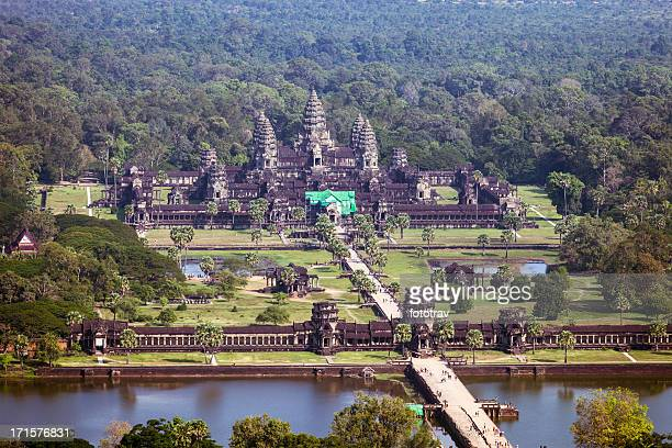 aerial view of angkor wat, cambodia - angkor stock photos and pictures