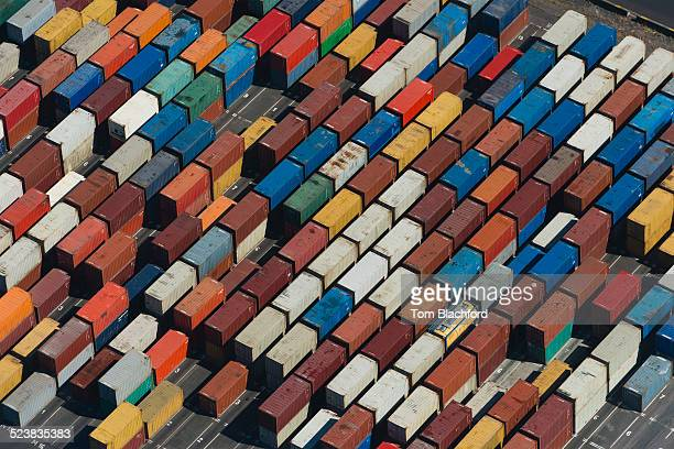 Aerial view of angled multi color cargo containers, Port Melbourne, Melbourne, Victoria, Australia