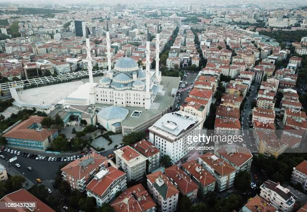 aerial view of ankara with kocatepe mosque - ankara turkey stock pictures, royalty-free photos & images