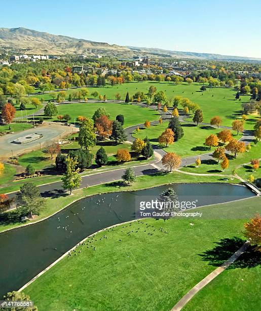 aerial view of ann morrison park - boise idaho stock pictures, royalty-free photos & images