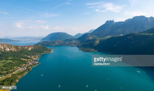 aerial view of annecy, the mountains alps and the lake - isere stock pictures, royalty-free photos & images