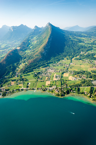 Aerial view of Annecy, the mountains Alps and the lake - gettyimageskorea