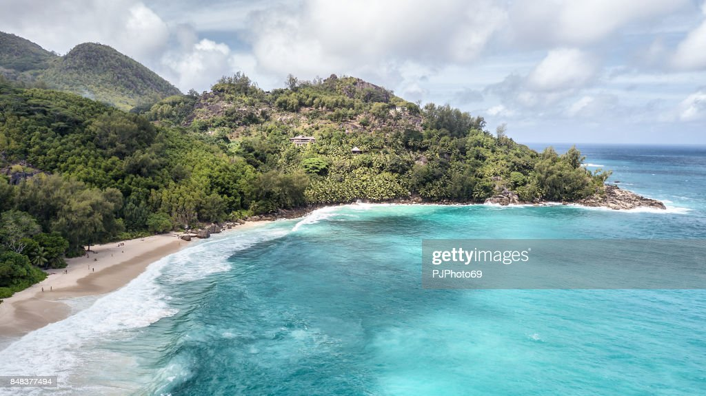 Aerial view of Anse Intendance -  Mahe Island : Foto stock