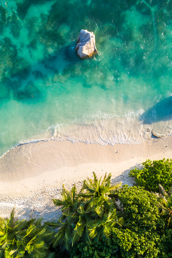 Aerial view of Anse Source d'Argent beach at sunset - gettyimageskorea