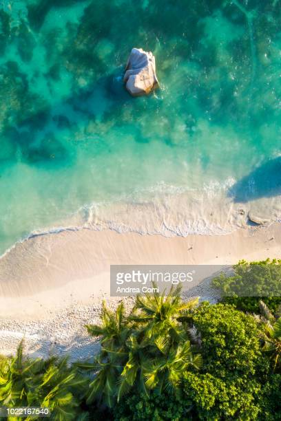 aerial view of anse source d'argent beach at sunset - idílico fotografías e imágenes de stock