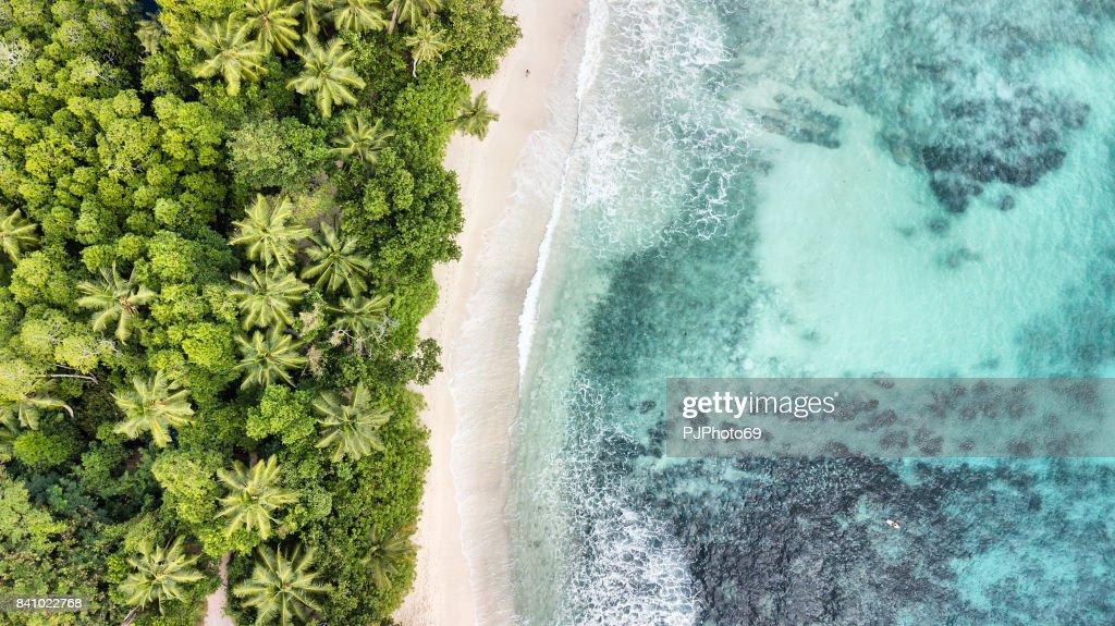 Aerial view of Anse Takamaka -  Mahe Island - Seychelles : Stock Photo