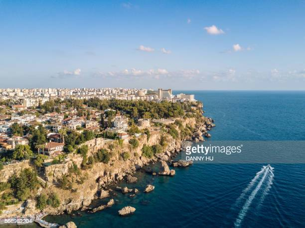 aerial view of antalya city, turkey - antalya stock-fotos und bilder
