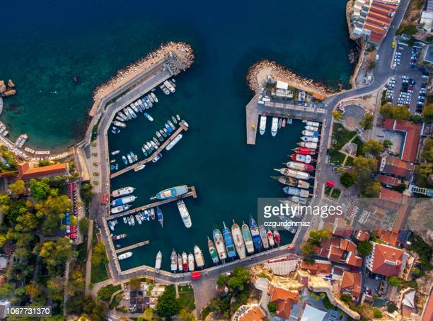 aerial view of antalya harbour (kaleici) - marina stock photos and pictures