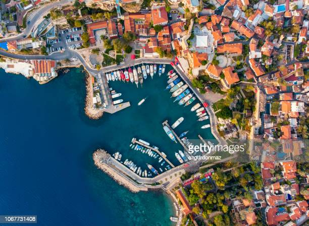 aerial view of antalya harbour (kaleici) - antalya province stock pictures, royalty-free photos & images