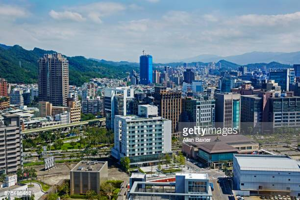 aerial view of apartments and offices in the zhongshan district, taipei - zhongshan stock-fotos und bilder