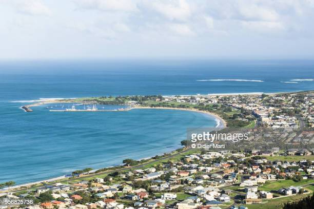 Aerial view of Apollo bay by the Great Ocean Road in Australia